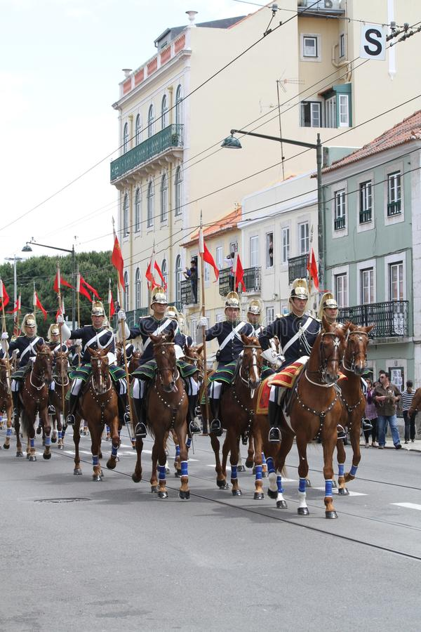 Protector nacional en el caballo que honra a Visit de papa imagen de archivo