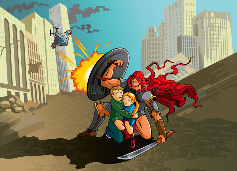 Protector. Superhero saves teenagers from aliens attack, vector illustration