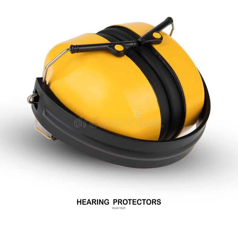 Protectores de oído aislados en el fondo blanco imagen de archivo