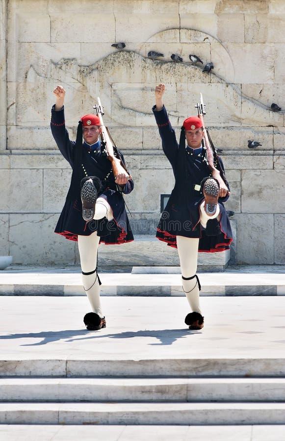 Protectores del Griego en Atenas imágenes de archivo libres de regalías