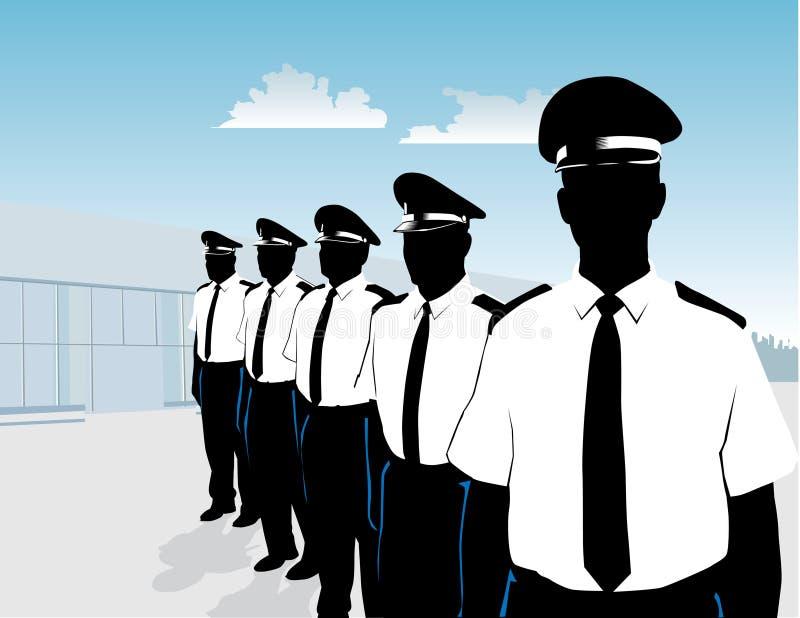 Protectores en la formación stock de ilustración