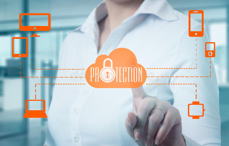 Protegga il concetto di dati di informazioni della nuvola Sicurezza e sicurezza dei dati della nuvola immagine stock libera da diritti
