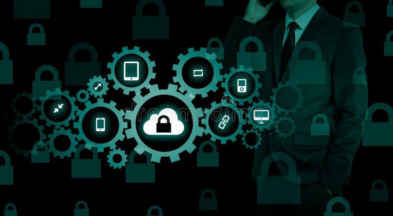 Protegga il concetto di dati di informazioni della nuvola Sicurezza e sicurezza dei dati della nuvola immagine stock