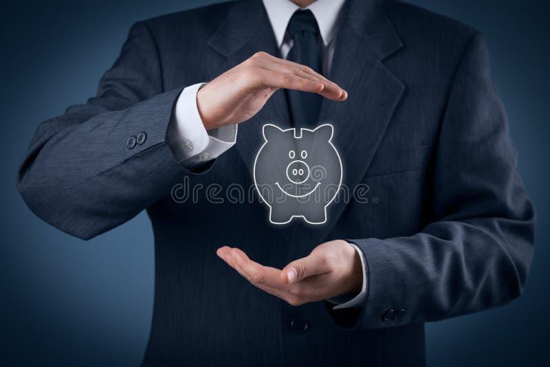 Protegga il risparmio finanziario immagine stock