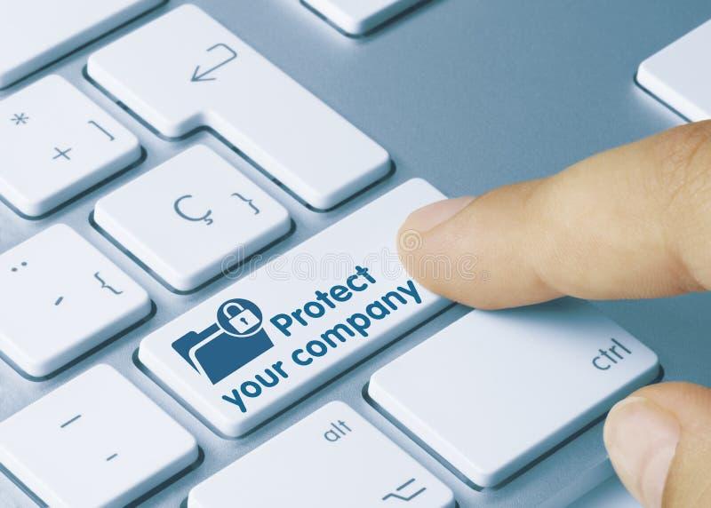 Proteggi la tua azienda - Iscrizione su Tastiera Blu fotografie stock libere da diritti