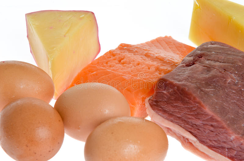 Protein. Food sources of protein, egg, cheese, meat and fish stock photography