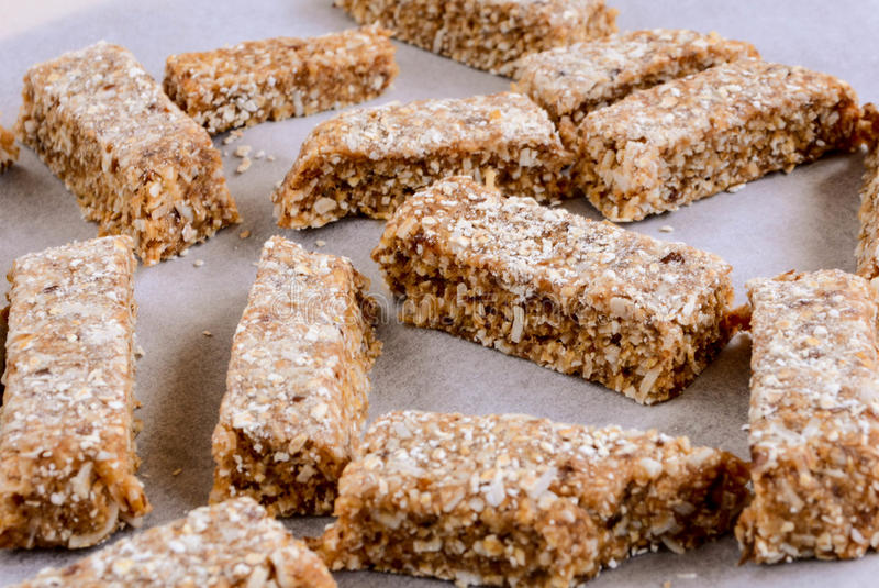 Protein Bars. High Energy Oats and Dates bars stock photo