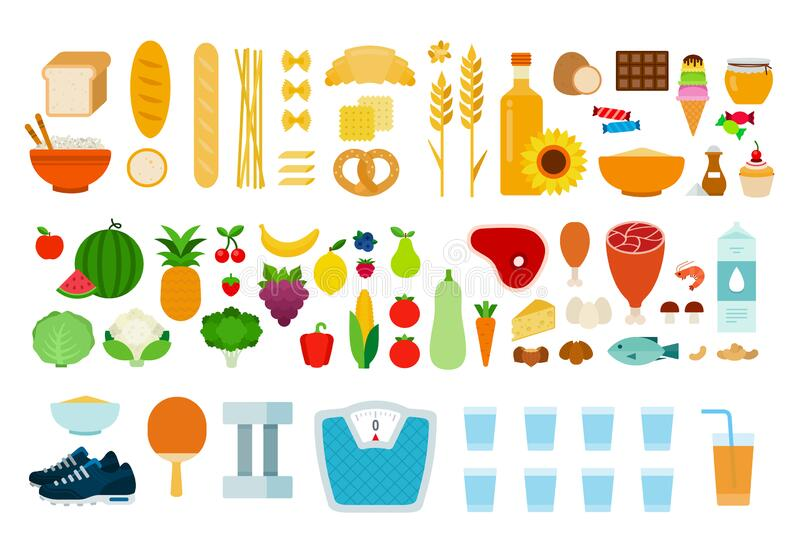 Protein, carbohydrate products, vegetables, fruits, products containing sugar and sports accessories vector flat. Protein, carbohydrate products, vegetables stock illustration
