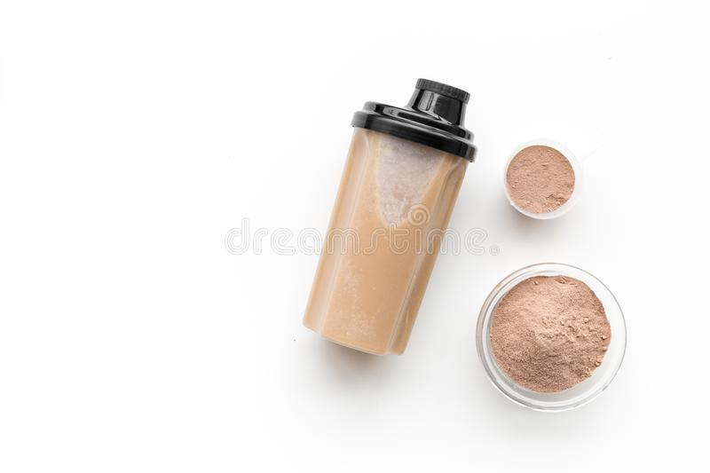 Protein cocktail with powder for sport nutrition set l on white background top view mock-up stock image