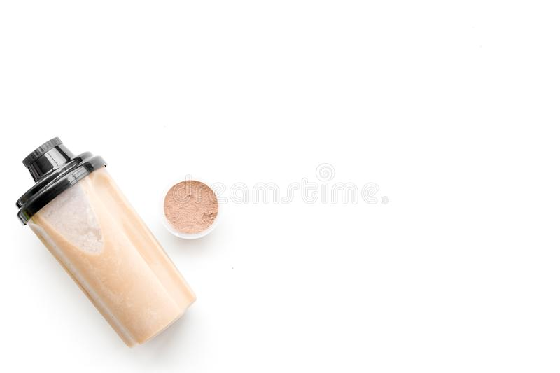 Protein cocktail with powder for sport nutrition set l on white background top view mock-up stock photos