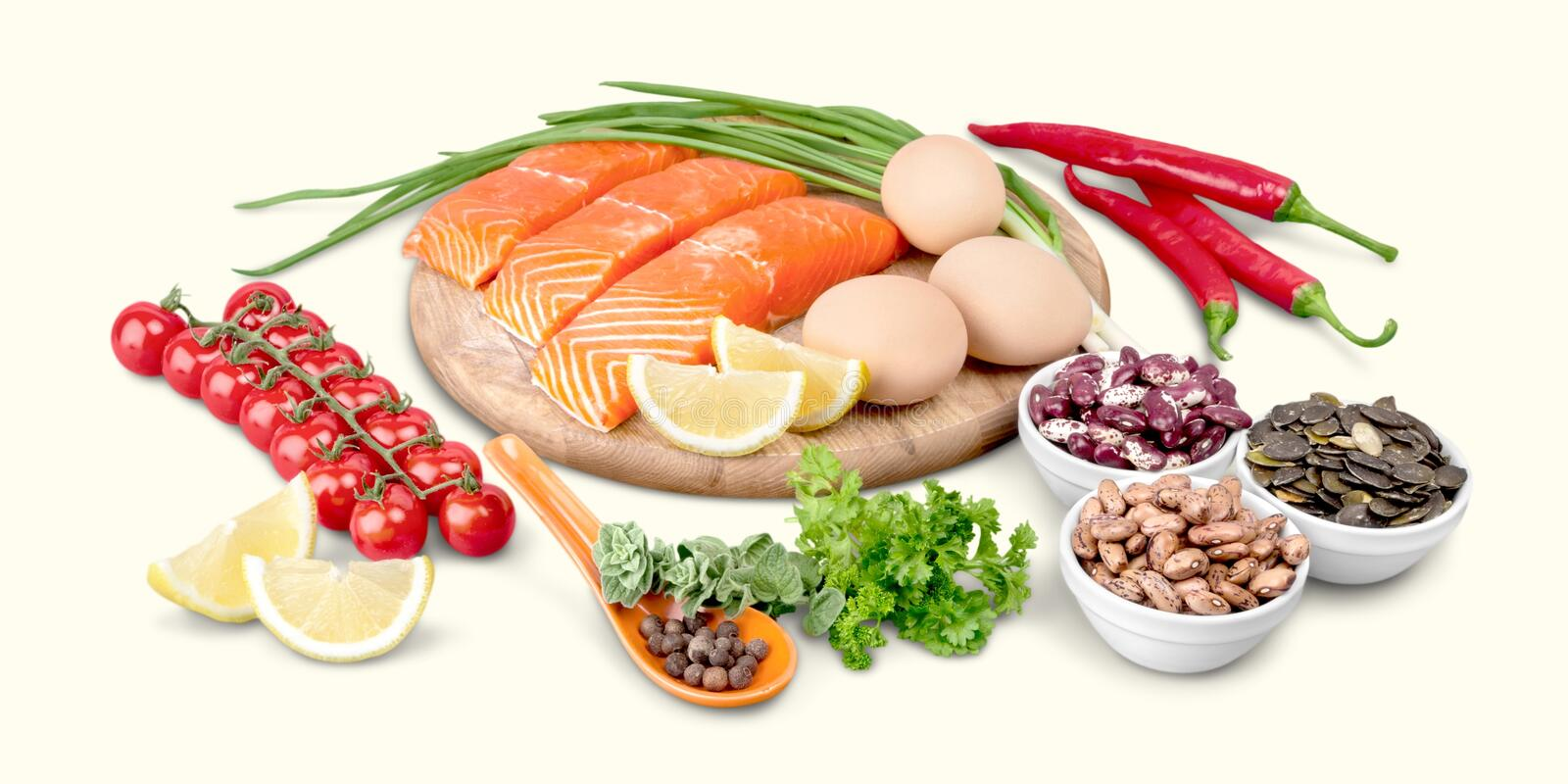 Protein diet salmon stock photography