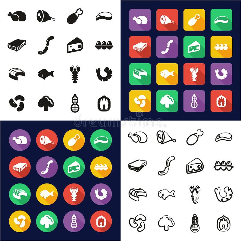 Protein Food Icons All in One Icons Black & White Color Flat Design Freehand Set. This image is a vector illustration and can be scaled to any size without loss stock illustration