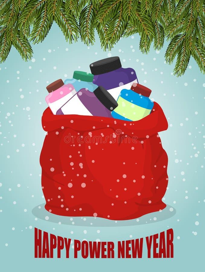Protein i röd säck av Santa Claus Nytt år för lycklig makt Stora lodisar stock illustrationer