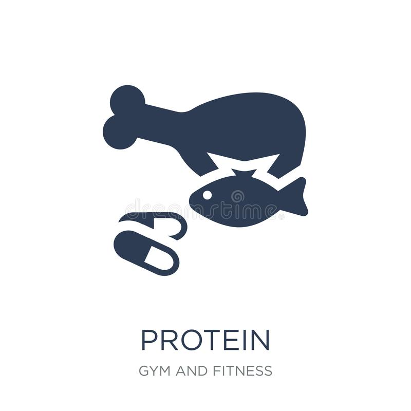 Protein icon. Trendy flat vector Protein icon on white background from Gym and fitness collection. Vector illustration can be use for web and mobile, eps10 stock illustration