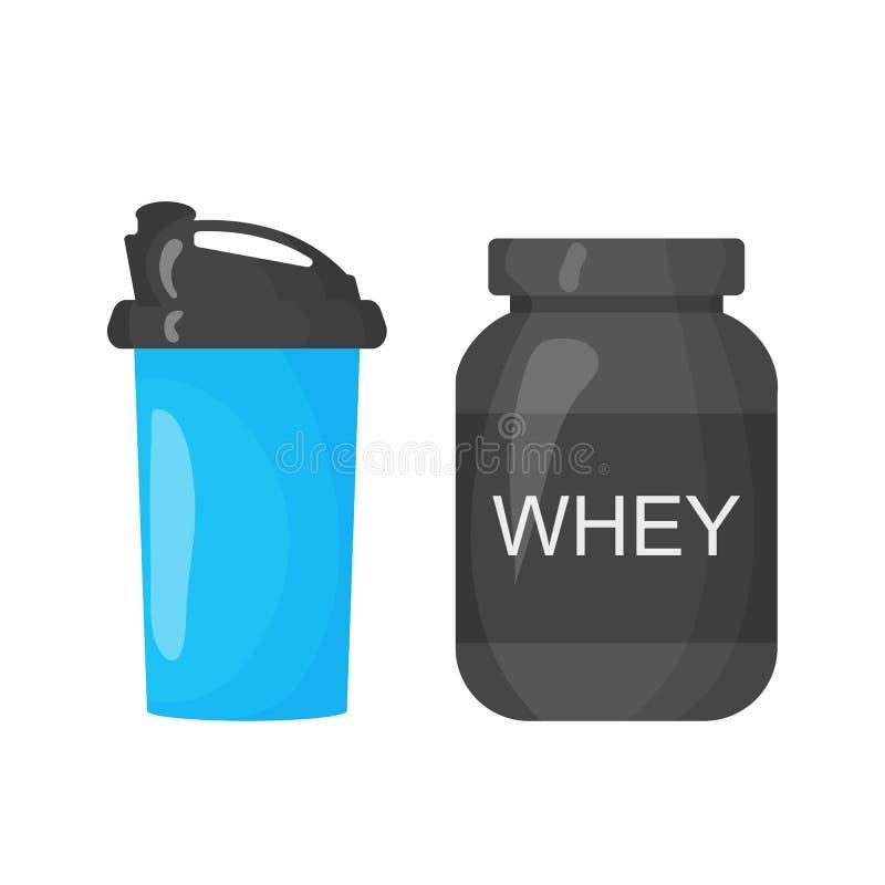 Protein- och shakersymbol på den vita bakgrunden Uppsättning för illustration för sportutrustning för idrottshall- eller konditio vektor illustrationer