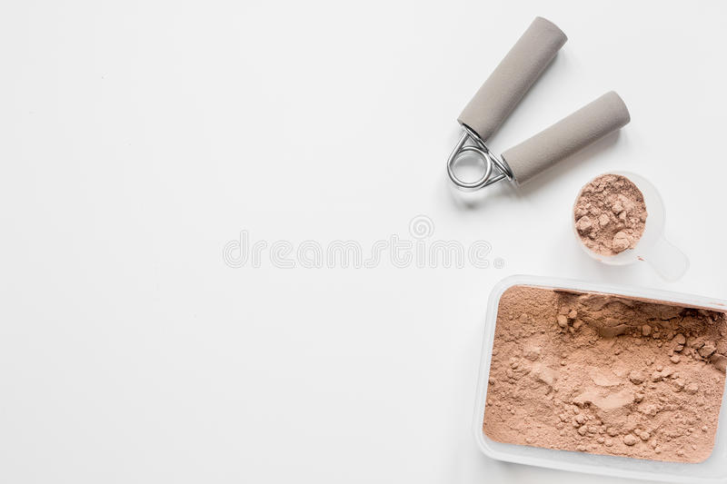 protein powder for fitness nutrition to start training white background top view mockup royalty free stock images