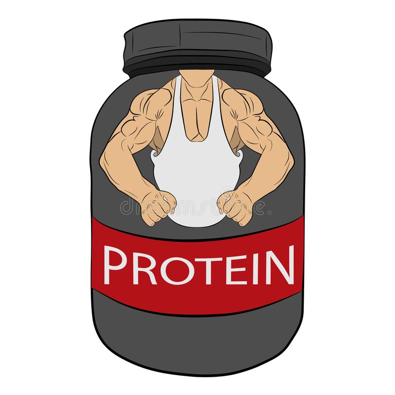 Protein power energy jar with muscle hands vector drawing illustration stock photography