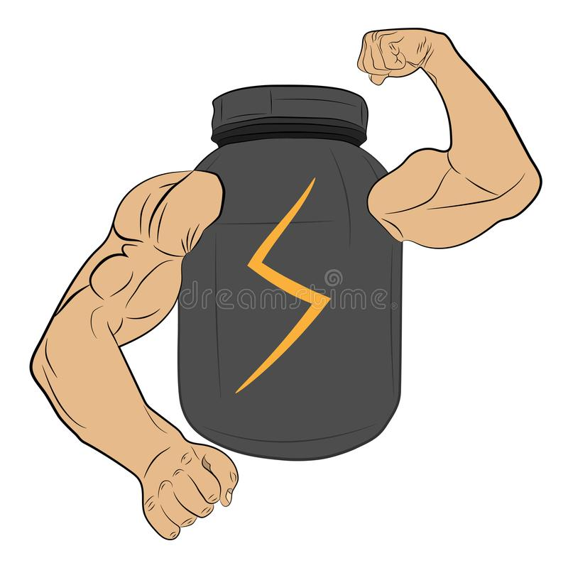 Protein power energy jar with muscle hands vector drawing illustration royalty free stock images