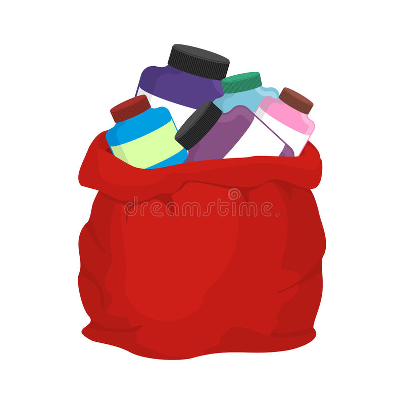 Protein in red sack of Santa Claus. Big bag with packages of sports nutrition. Gift for Christmas bodybuilder. Fitness present royalty free illustration