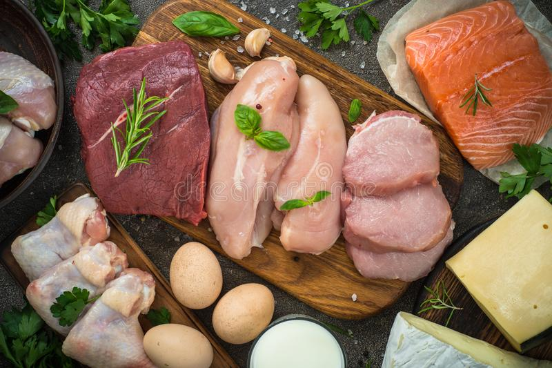 Protein sources - meat, fish, cheese, nuts, beans and greens. stock images