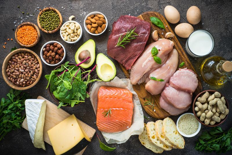 Protein sources - meat, fish, cheese, nuts, beans and greens. Protein sources. Meat, fish, eggs, cheese, milk nuts greens oil beans and lentils Top view royalty free stock photos