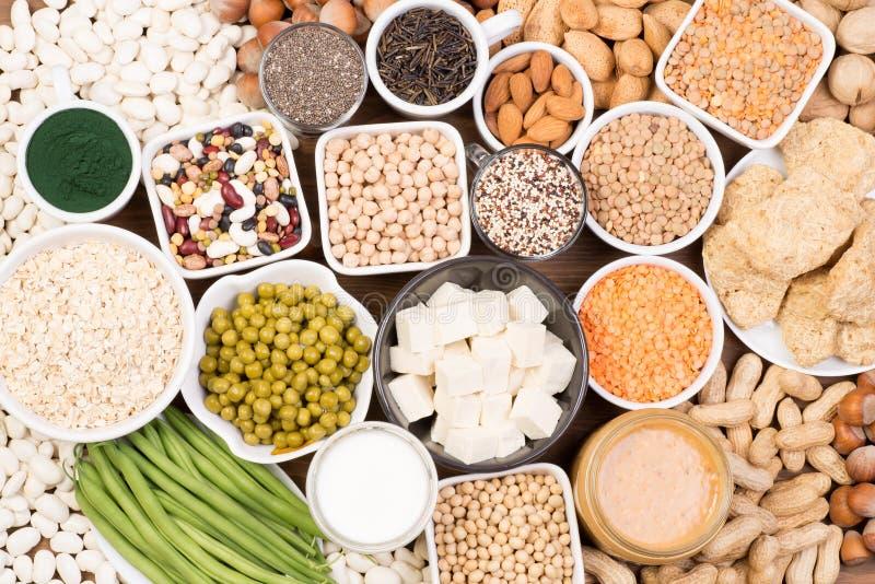 Protein in vegan diet. Food sources of vegan protein stock photos