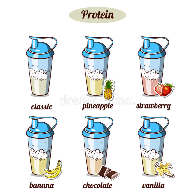 Proteina differente Coktails illustrazione di stock