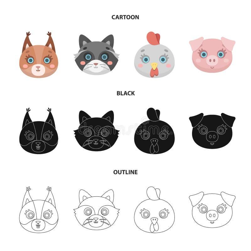 Proteina, szop pracz, kurczak, świnia Zwierzęcego kagana ustalone inkasowe ikony w kreskówce, czerń, konturu symbolu stylowy wekt ilustracja wektor