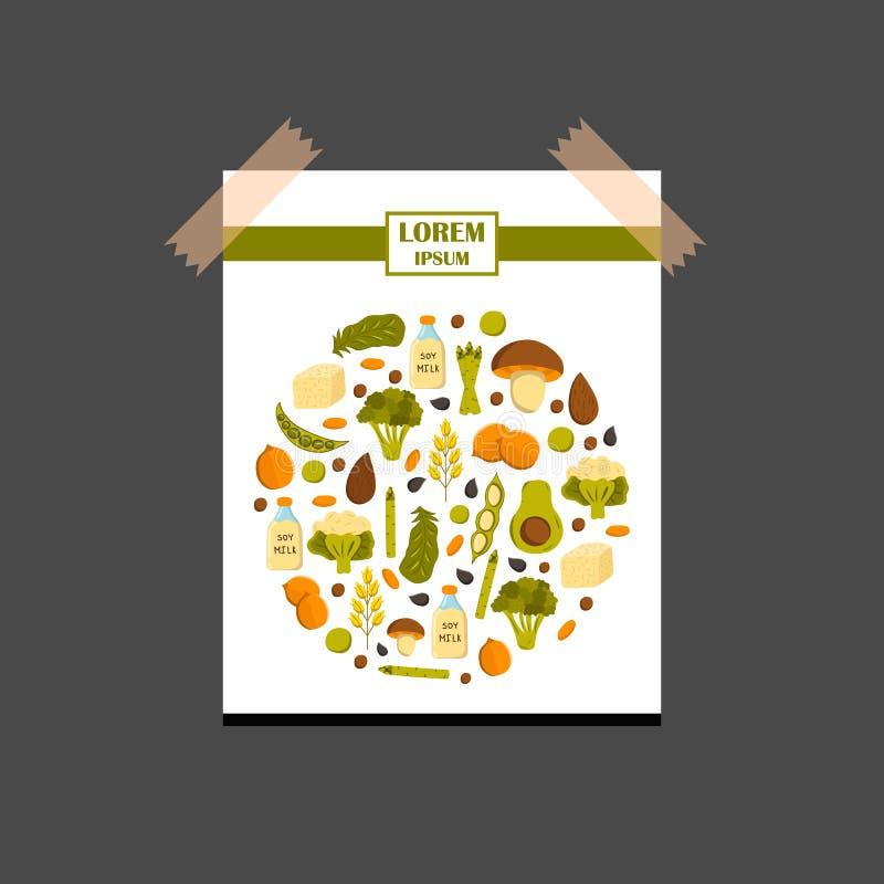 Proteinhintergrund des Vektorstrengen vegetariers vektor abbildung