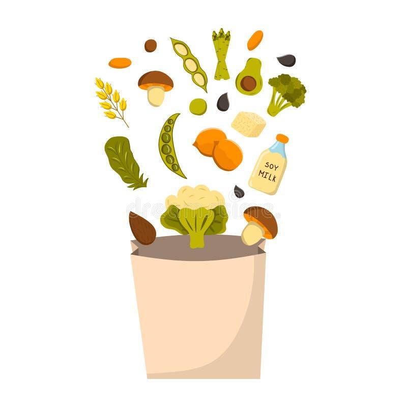 Proteinhintergrund des Vektorstrengen vegetariers stock abbildung