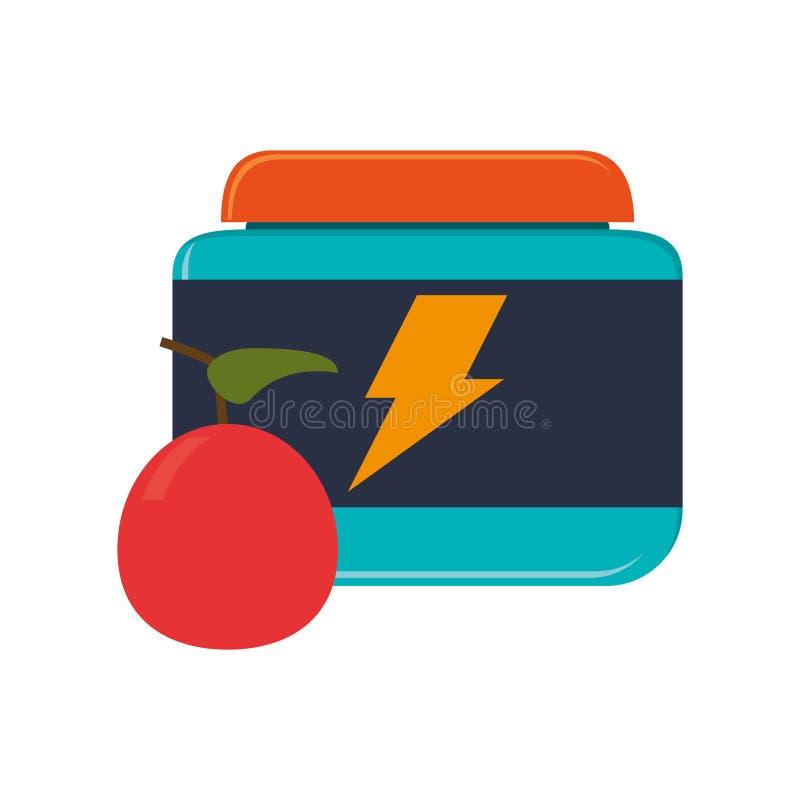 Proteinowa żywienioniowego nadprograma i jabłka ikona ilustracji
