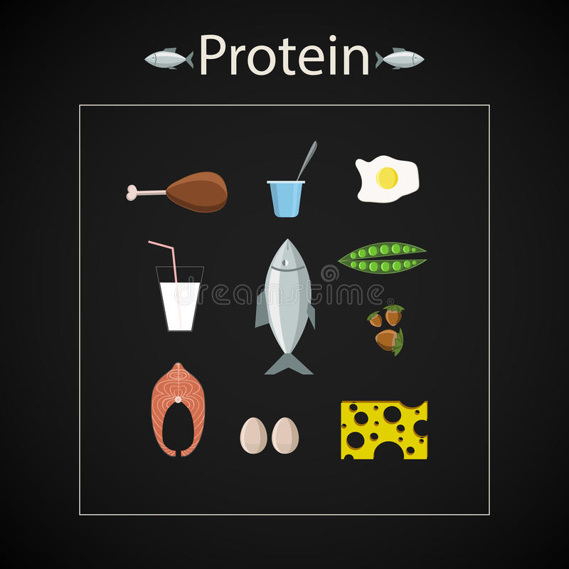 Proteinowy karmowy ikona set ilustracja wektor