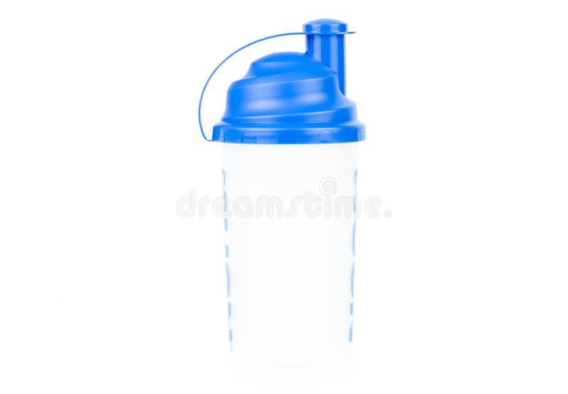 Proteinowy potrząsacz, sporta odżywiania nadprogramów butelka na białym tle/ zdjęcia stock