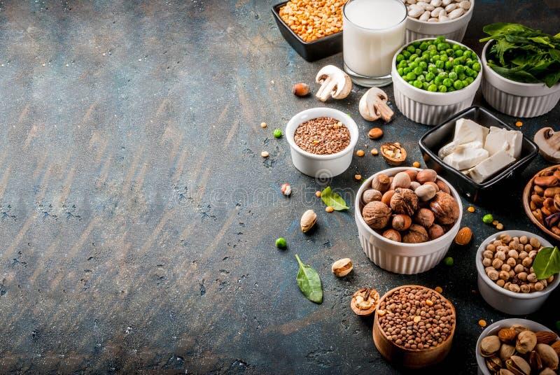 Proteinquellen des strengen Vegetariers lizenzfreies stockfoto