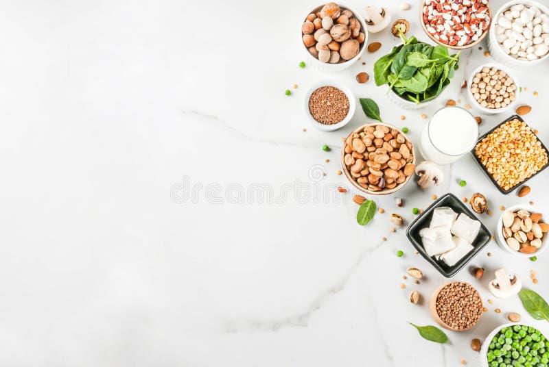 Proteinquellen des strengen Vegetariers stockfoto