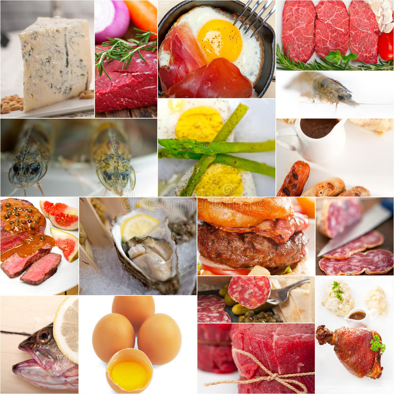 Proteinreiche Lebensmittelsammlungscollage lizenzfreies stockfoto