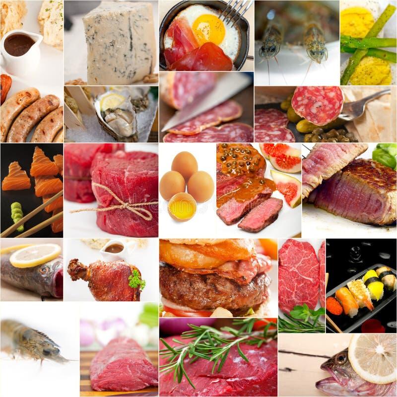 Proteinreiche Lebensmittelsammlungscollage stockbild