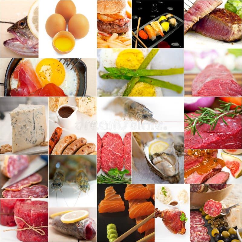 Proteinreiche Lebensmittelsammlungscollage lizenzfreie stockbilder