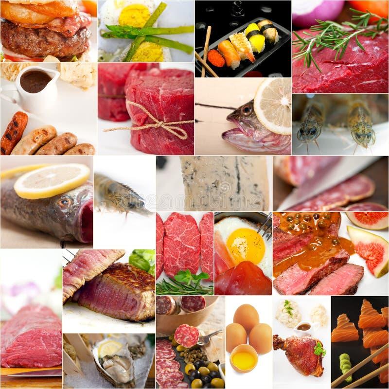 Proteinreiche Lebensmittelsammlungscollage stockfoto