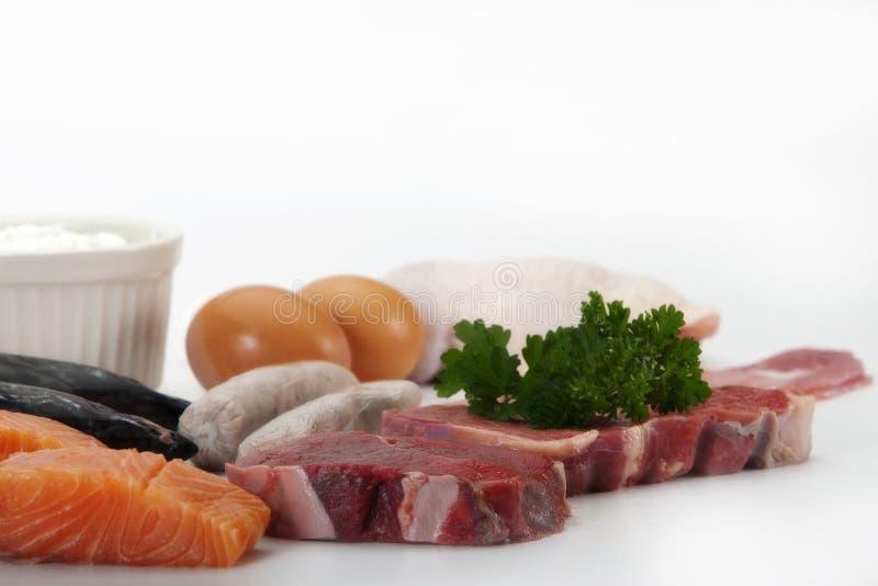 Proteinreiche Nahrungsmittel im Abschluss oben lizenzfreie stockbilder