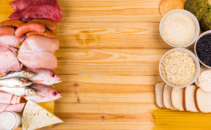 Proteins and carbohydrates stock images