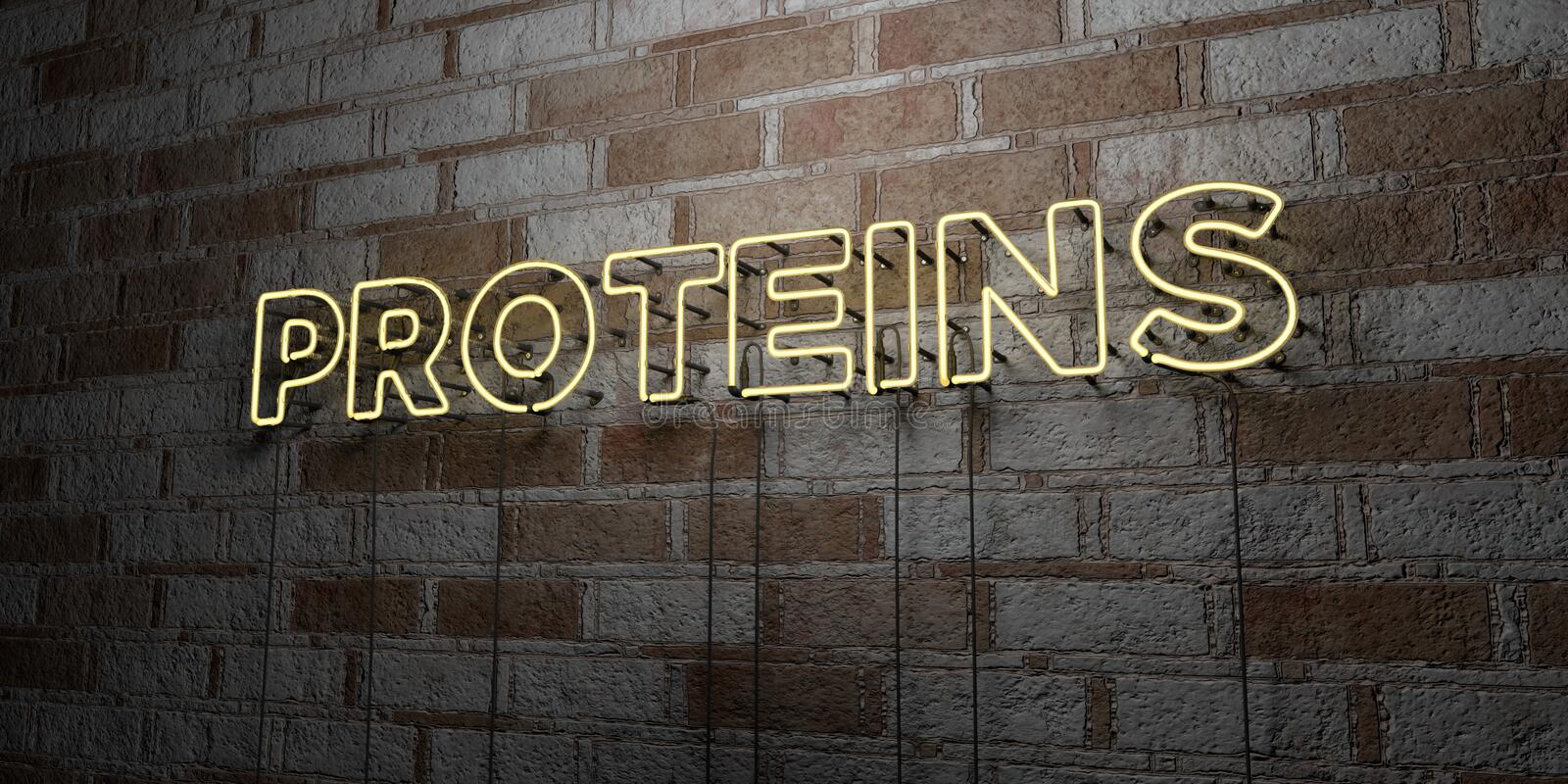 PROTEINS - Glowing Neon Sign on stonework wall - 3D rendered royalty free stock illustration. Can be used for online banner ads and direct mailers stock illustration