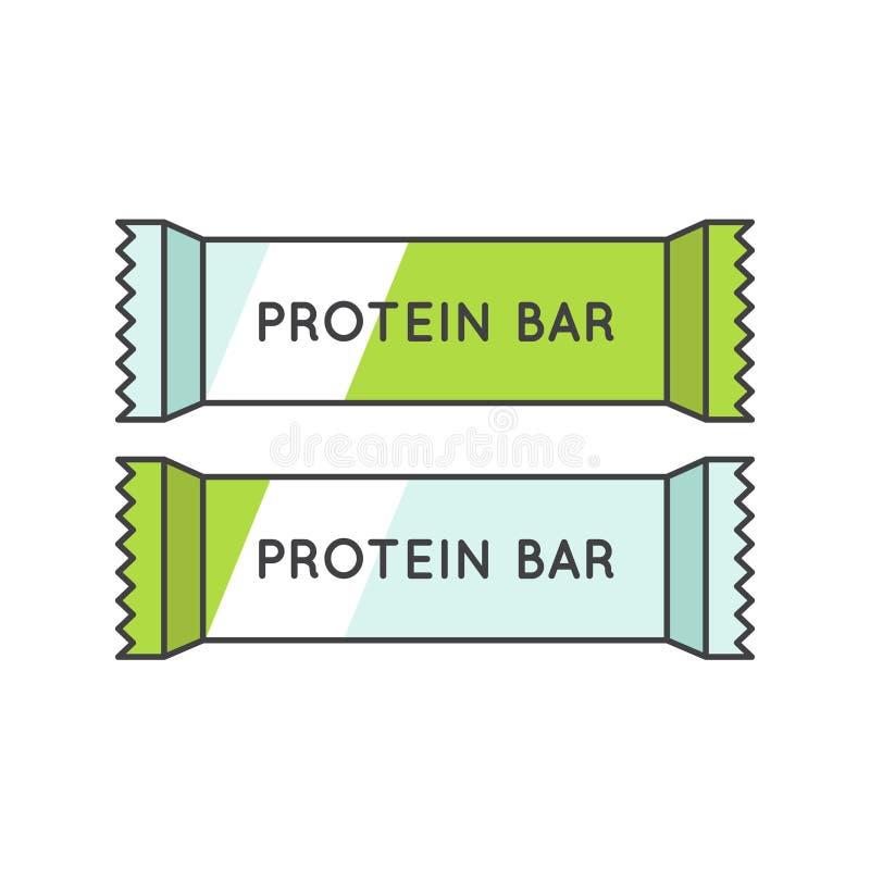 Proteinstång, sport och näring stock illustrationer