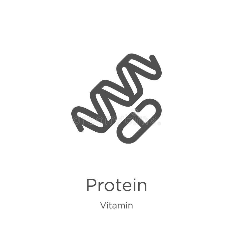 proteinsymbolsvektor från vitaminsamling Tunn linje illustration f?r vektor f?r protein?versiktssymbol Översikt tunn linje protei vektor illustrationer