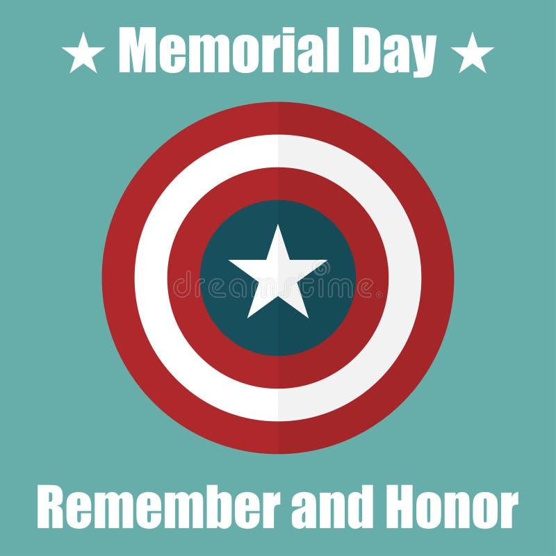 Proteja com ícone dos EUA Memorial Day Proteja a ilustração da privacidade, ícone do crachá ilustração royalty free