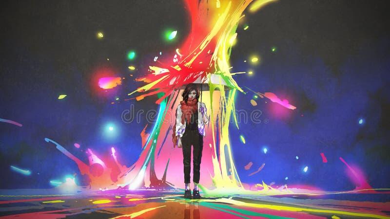 Proteja contra colorido espirra ilustração stock