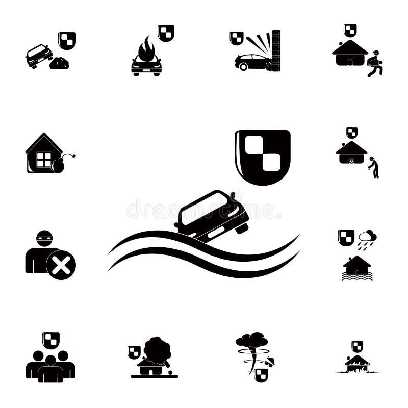 proteja de afogar um ícone do carro Grupo detalhado de ícones do seguro Sinal superior do projeto gráfico da qualidade Um do ícon ilustração do vetor