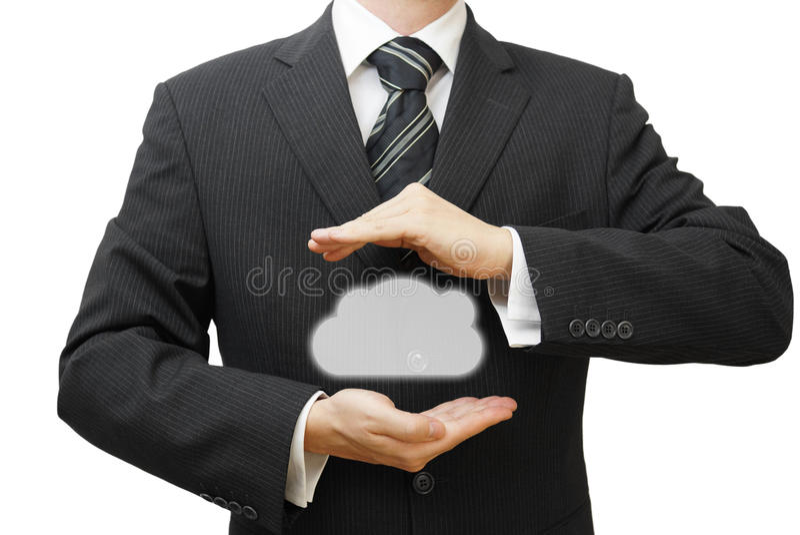 Proteja el concepto de los datos de la información de la nube. Seguridad y seguridad imagen de archivo