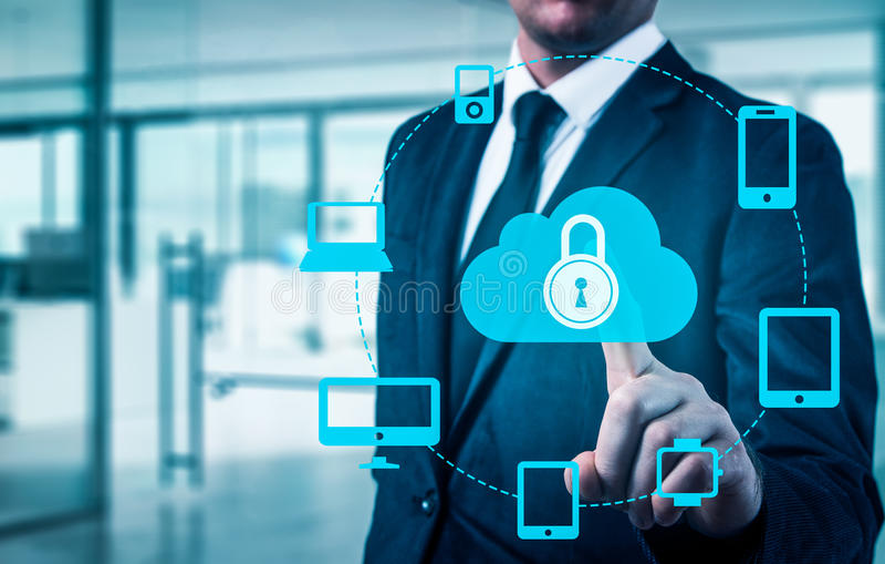 Proteja el concepto de los datos de la información de la nube Seguridad y seguridad de los datos de la nube imagen de archivo