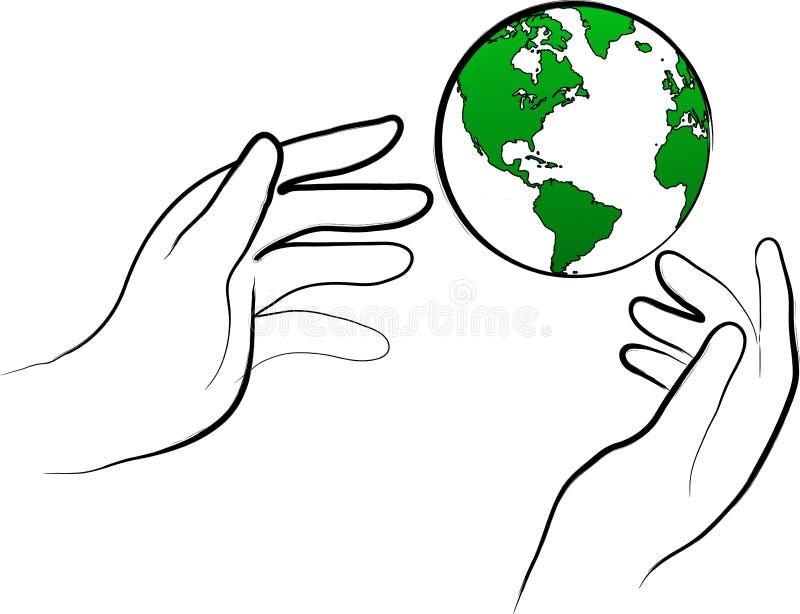 Proteja el mundo ilustración del vector